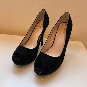 Black velvet peep-toe heels